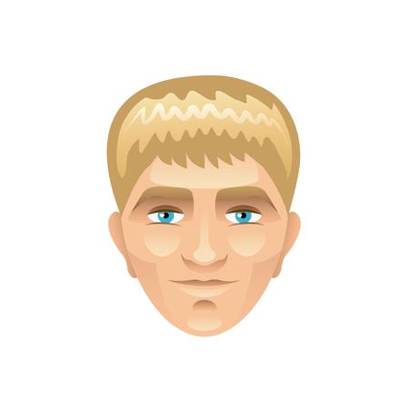 blond: Blond man face isolated cartoon vector illustration