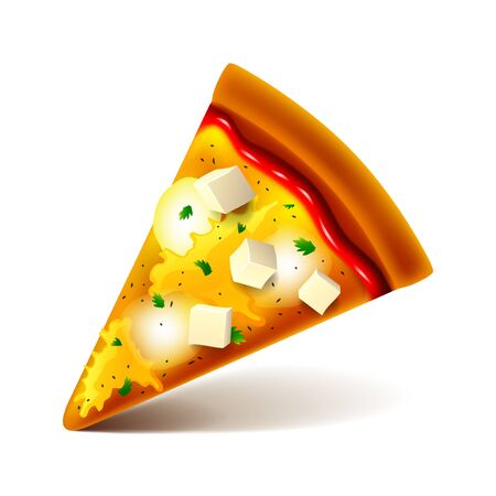 Cheese pizza slice isolated vector illustration