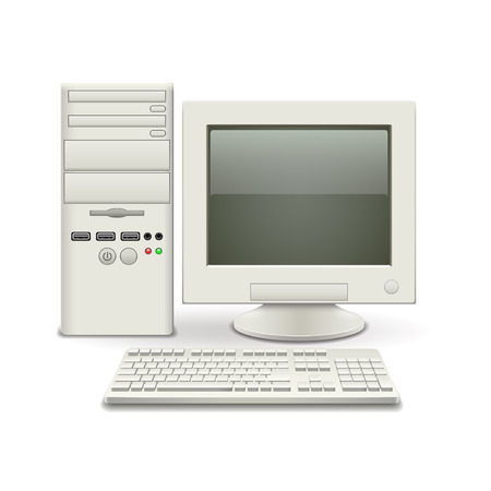scrapyard: Old computer isolated on white vector illustration Illustration