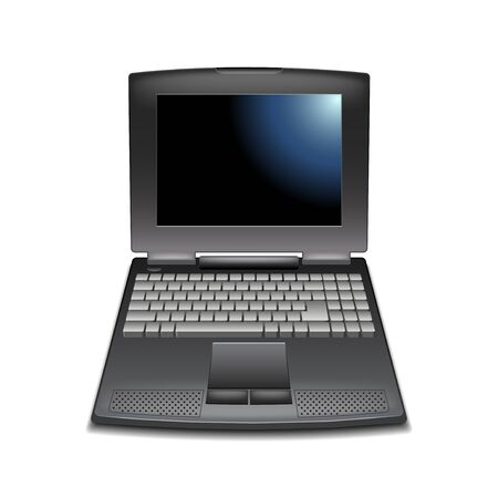 laptop isolated: Vintage laptop isolated on white vector illustration