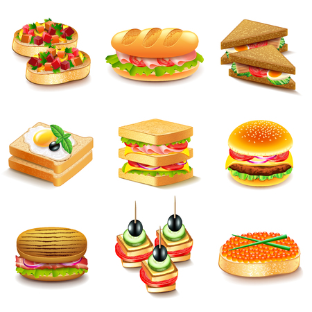 Sandwiches icons detailed vector set Vettoriali