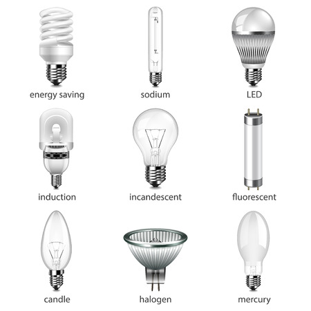 Different lightbulbs icons photo realistic vector set