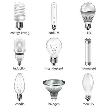 Diferentes bombillas iconos foto realista conjunto de vectores Ilustración de vector