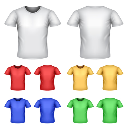 Colorful male t-shirts detailed photo realistic vector set