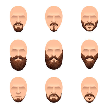 cartoon hairdresser: Hipster mustache and beards icons cartoon vector set