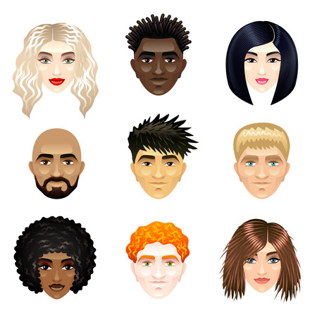 blonde teenager: Multicultural people faces photo realistic vector set