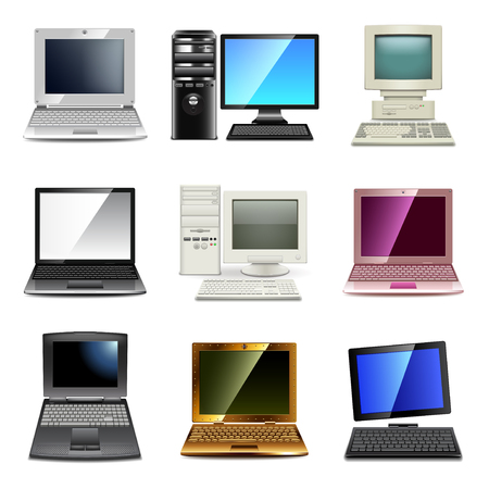 laptop computer: Computer types icons photo realistic vector set