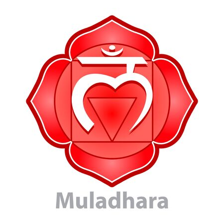 muladhara: Chakra muladhara isolated on white vector illustration