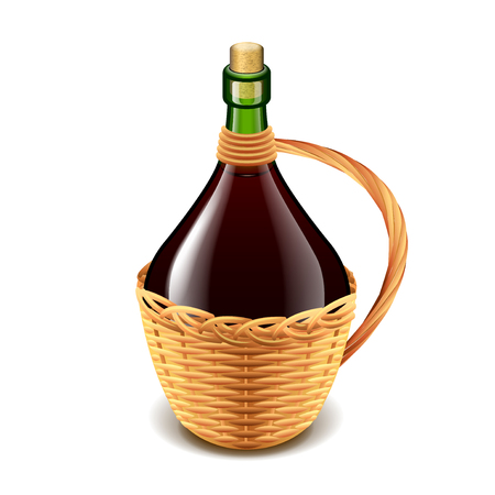 Wine in wicker bottle isolated on white photo-realistic vector illustration