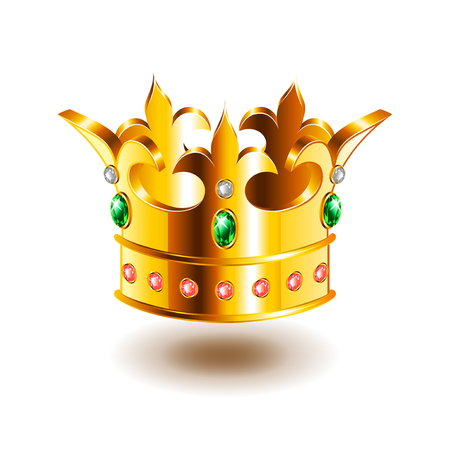 Heraldic crown isolated on white photo-realistic vector illustration