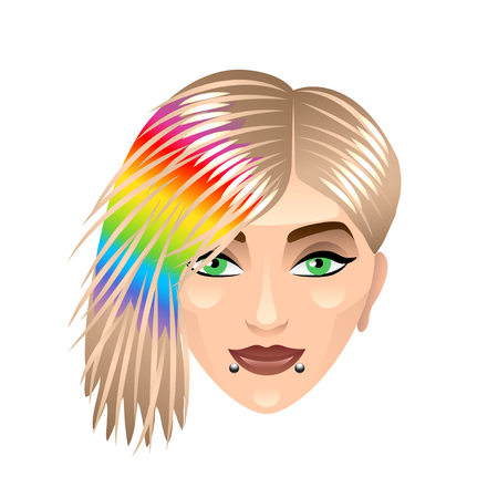 blonde teenager: Girl with rainbow haircut isolated on white vector illustration