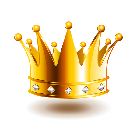 Classic crown with diamonds isolated photo-realistic vector illustration