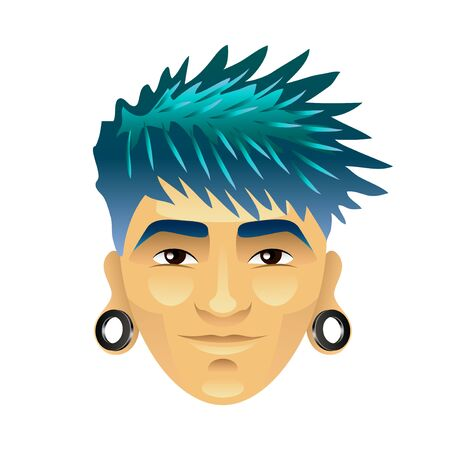asian man smiling: Asian man with blue hair and tunnels in ears isolated vector illustration