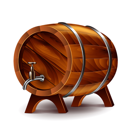 oak wood: Wine barrel isolated on white photo-realistic vector illustration
