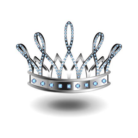 美の女王は銀クラウン分離された写実的なベクトル図