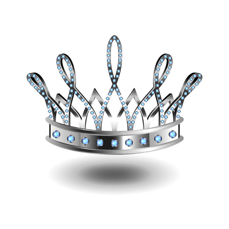 Beauty queen silver crown isolated photo-realistic vector illustration