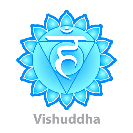 vishuddha: Chakra vishuddha isolated on white vector illustration