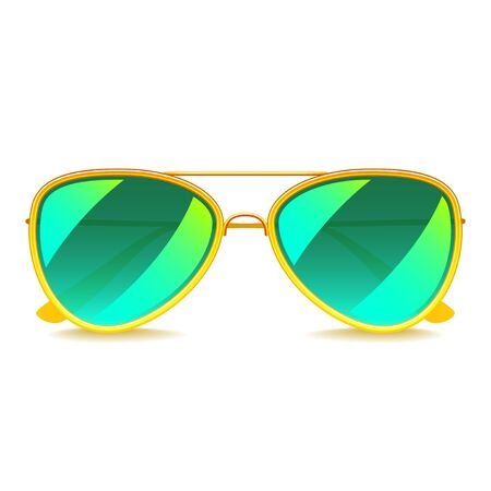 c47d444bda1 Green mirror sunglasses isolated on white photo-realistic vector illustration  Illustration