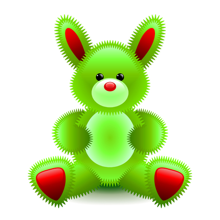 Cute green bunny soft toy isolated on white vector illustration Illustration