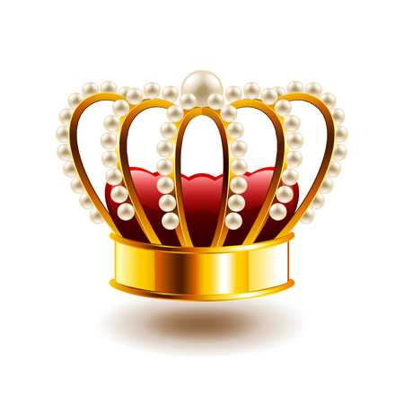 Crown with white pearls isolated photo-realistic vector illustration