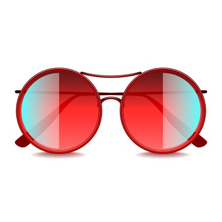 round: Round red sunglasses isolated on white photo-realistic vector illustration