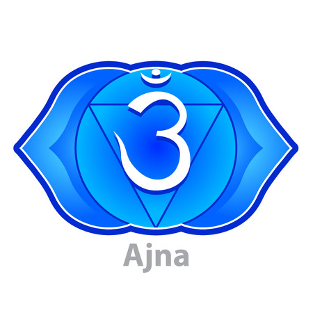 ajna: Chakra ajna isolated on white vector illustration