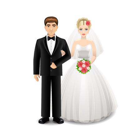 Jonggehuwden op witte photo-realistic vectorillustratie worden geïsoleerd die Stock Illustratie
