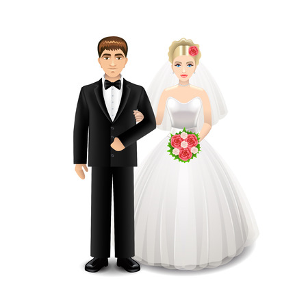 Jonggehuwden op witte photo-realistic vectorillustratie worden geïsoleerd die