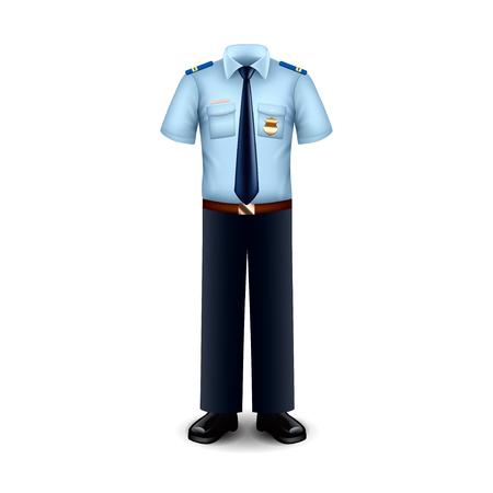 uniformes: uniforme de policía aislado en blanco ilustración vectorial foto-realista