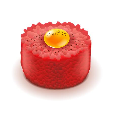 Carne picada y plato de tartar de huevo crudo aislado ilustración fotorrealista.