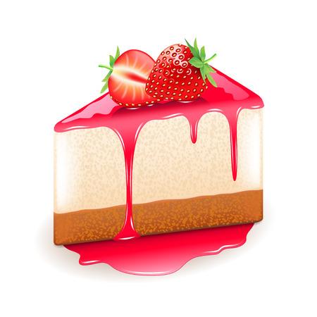 trozo de pastel: tarta de fresa aislado en blanco ilustración vectorial foto-realista