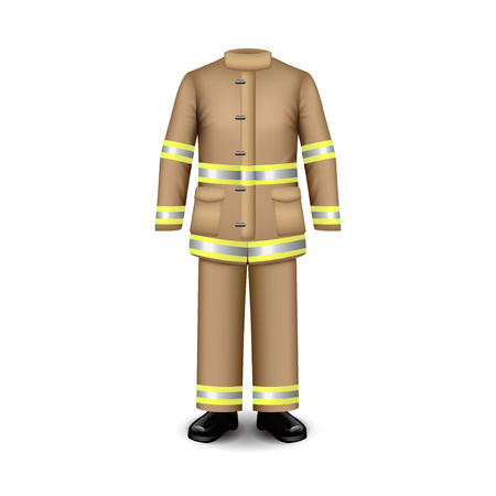 Fire uniform isolated on white photo-realistic vector illustration Illustration