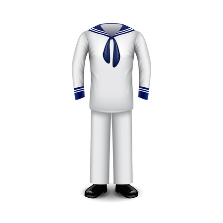 respecting: Sailor uniform isolated on white photo-realistic vector illustration.