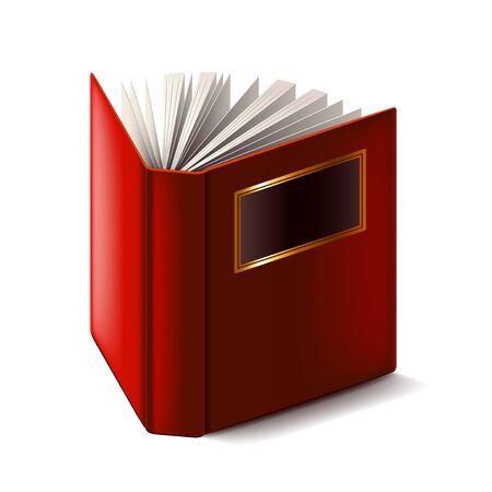 hardback: Opened book isolated on white photo-realistic . Illustration