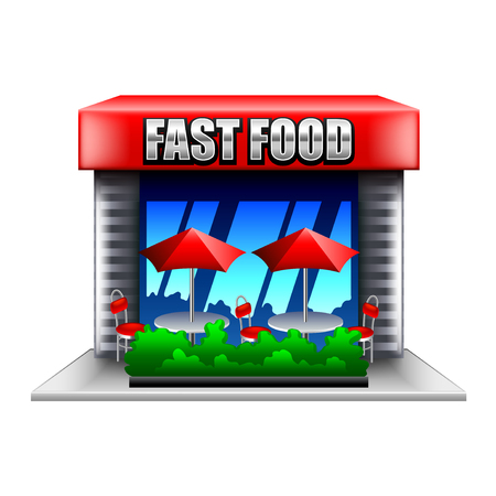 photorealistic: Fast food restaurant isolated on white photo-realistic vector illustration