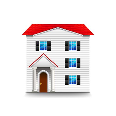 luxury house exterior: High three-storey house vector illustration
