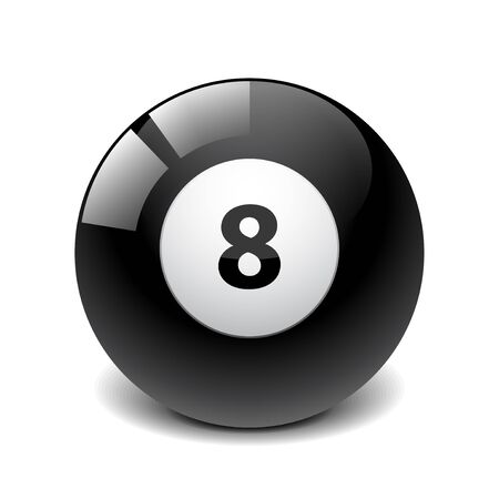 numbers clipart: Billiard ball isolated on white photo-realistic vector illustration