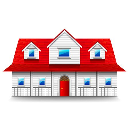 two storey: Wide two-storey house isolated photo-realistic vector illustration