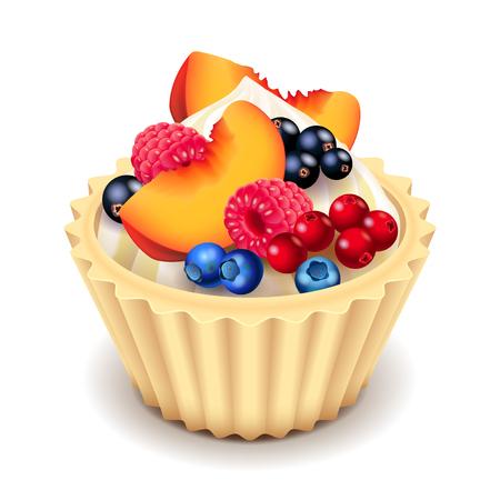 photorealistic: Fruit cupcake isolated photo realistic vector illustration Illustration