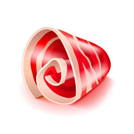 carne roja: Rebanada de ilustración vectorial aislado foto-realista jamón