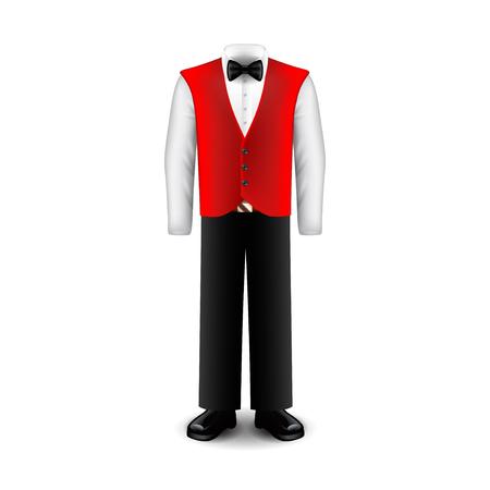 professional occupation: Waiter uniform vector illustration