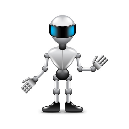 human hands: Robot with human hands isolated photo-realistic vector illustration Illustration