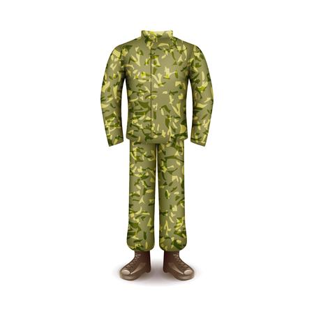 Military uniform isolated on white photo-realistic vector illustration Illustration