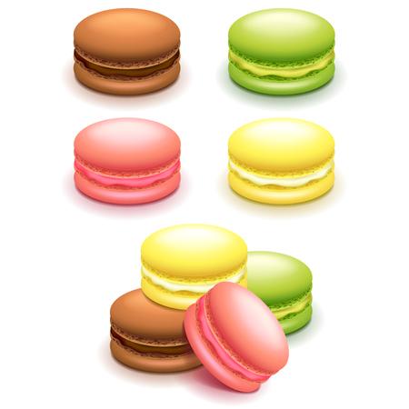galleta de chocolate: Pastelitos de macarrones francés conjunto aislado foto-realista ilustración vectorial