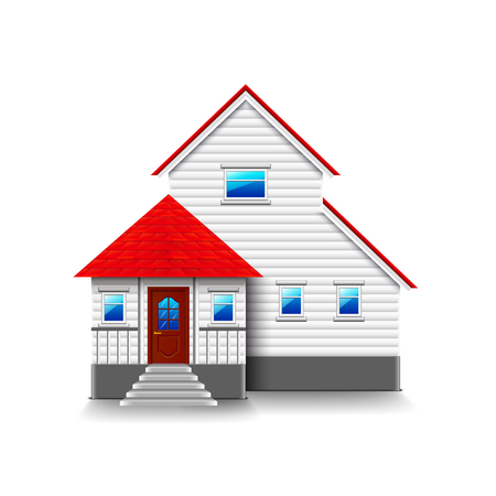 residential houses: House with high foundation isolated photo-realistic.