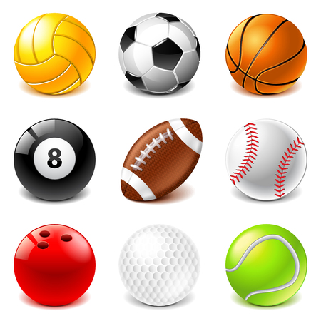 Sport balls icons detailed photo realistic vector set