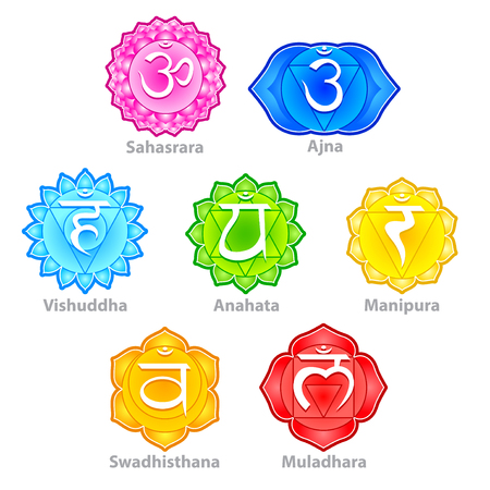 swadhisthana: Seven chakras icons detailed photo realistic vector set Illustration