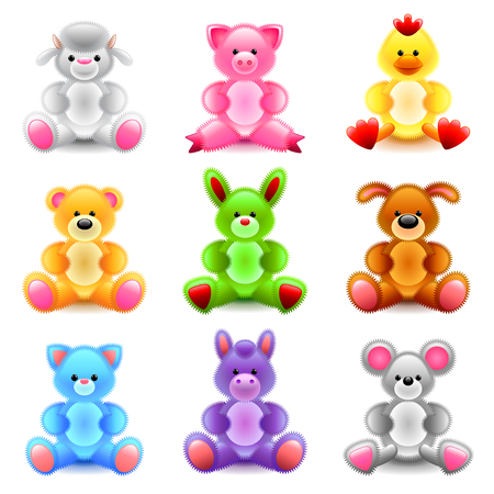infancia: Soft toys icons detailed photo realistic vector set Vectores