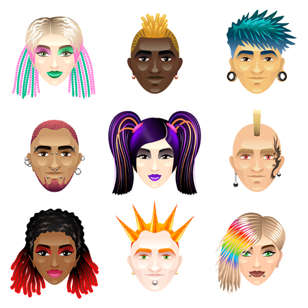 iroquois: Original youth people faces icons photo realistic vector set
