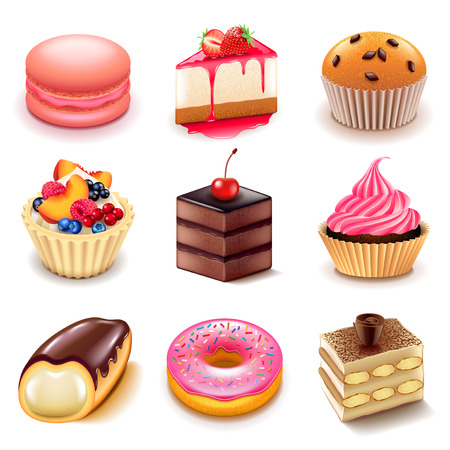 chocolate cake: Cakes icons detailed photo realistic vector set
